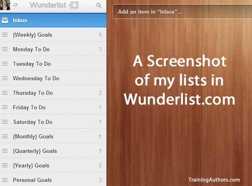 Wunderlist To Do List for Goals