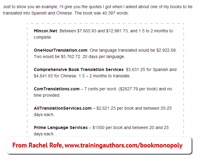 Translating Your Book Costs