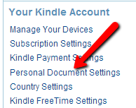 Kindle personal document settings